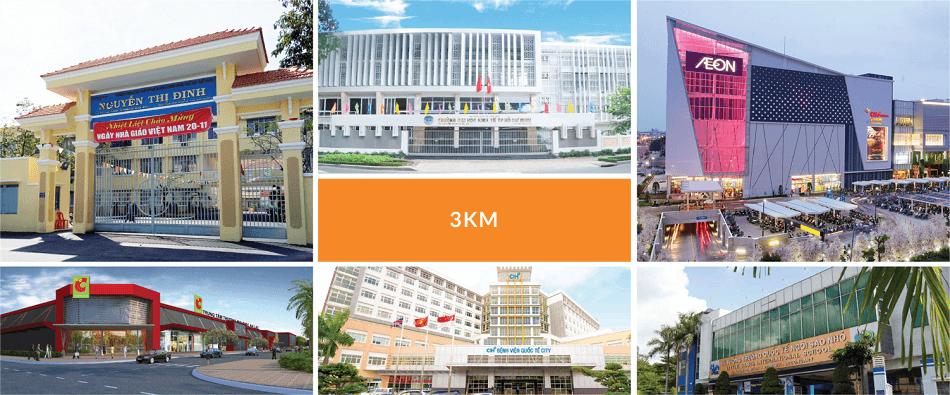 Chỉ trong vòng bán kính 3km, dự án căn hộ Akari City dễ dàng tiếp cận loạt tiện ích trong khu vực